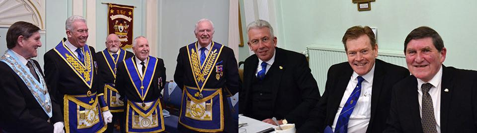 Pictured left. No sign of nerves here, from left right, are: Tom Hough, Mark Matthews, Colin Svenson, Bernard Ashley and John Roberts. Pictured right. A happy festive board for Mark Matthews, Kevin Poynton and Tom Hough.