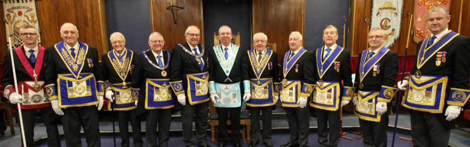 Paul Hardman (centre) with grand officers and acting Provincial grand officers