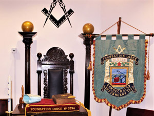 The lodge cushion and banner.