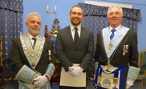 Pictured from left to right, are: Stephen Robinson, Harry Robinson and Harry s' seconder Eric Binks.
