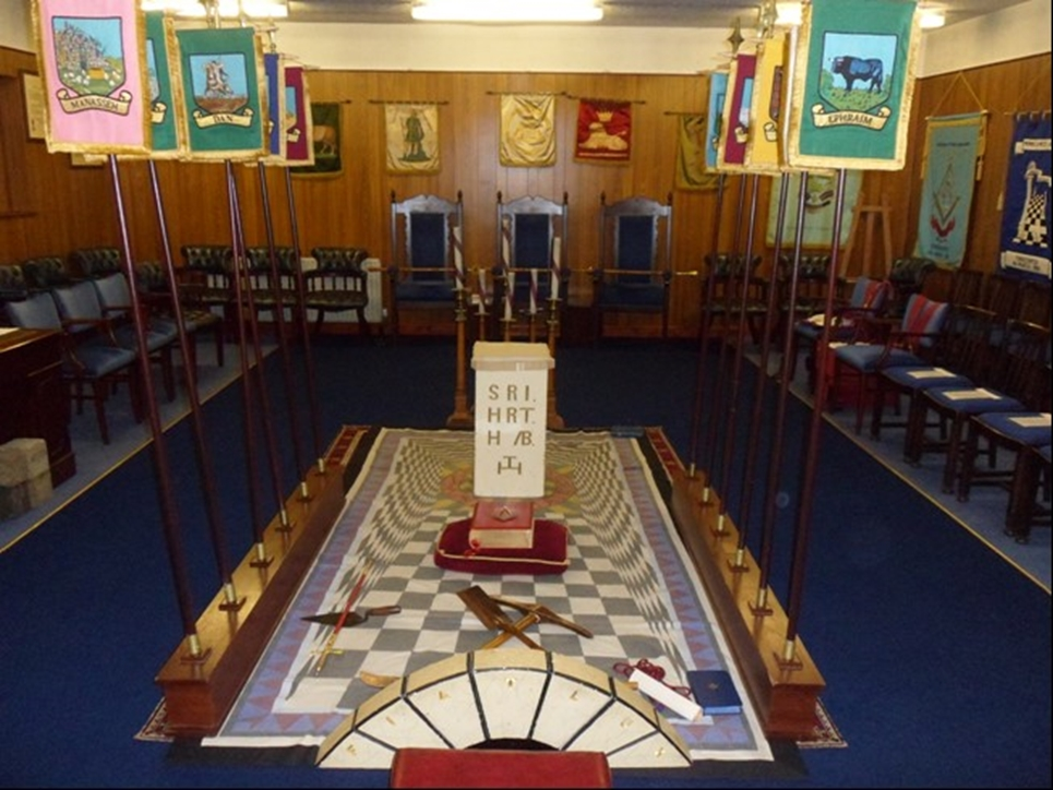 The chapter room in Hindley Freemasons Hall.