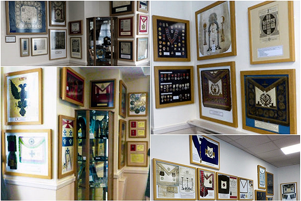 History of Freemasonry display inside the museum.
