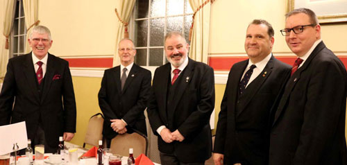 Tony (left) with the three principals and Lee Martin (right) at the Warrington joint convocation.