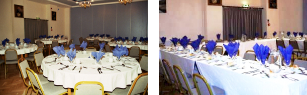 Table settings in Litherland hall.