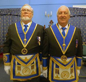 Provincial Junior Grand Deacons Norman Lay and David Ireland.