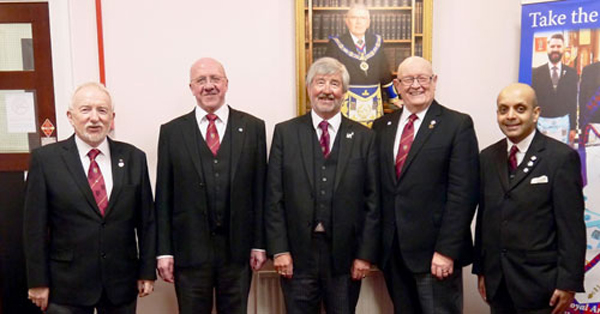 Pictured from left to right, are: Bernard Snape, Vinnie Carte, Bill Hembrow, Peter Mann and Umesh Dholakia