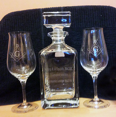 The engraved decanter presented to Tony.