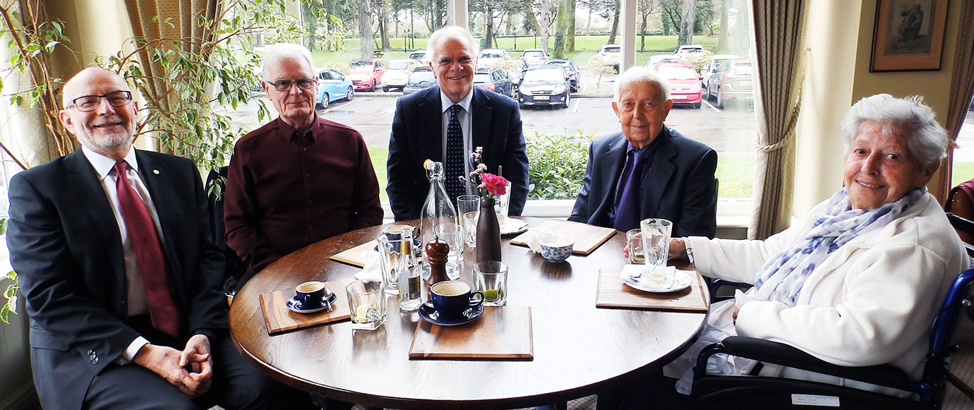 Dinner at The Red Fox, pictured from left to right, are: John James, Phil Marshall, Derek Parkinson, Tony Foulds and Beryl Foulds.