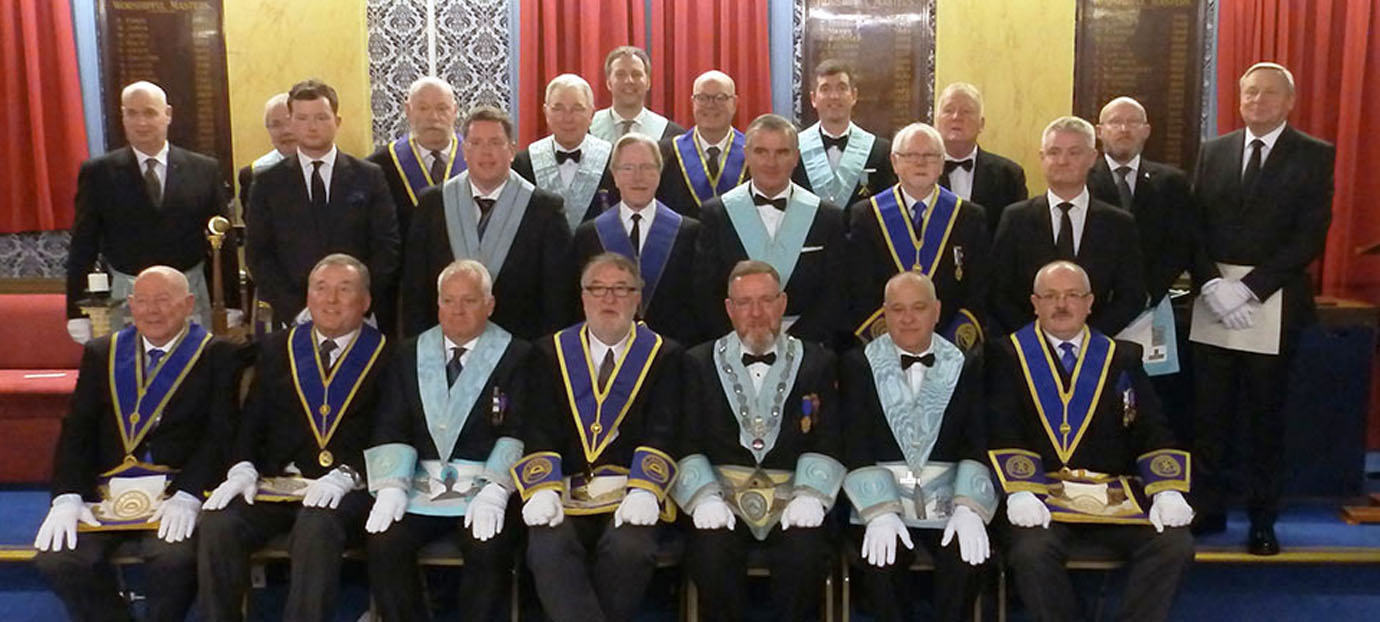 The Roger Philips pictured with the members of Coronation Lodge.