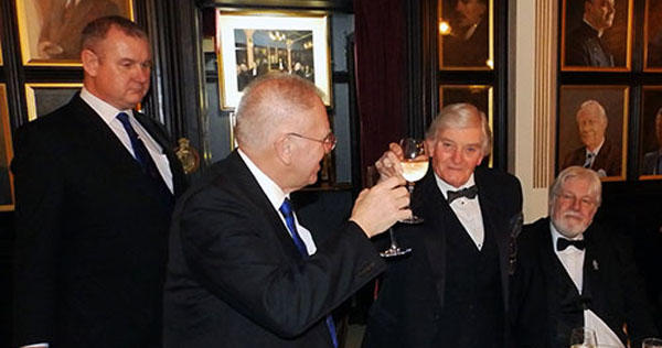 Pictured form left to right, taking wine, are: Paul Hesketh, Derek Parkinson, Ernie Waites and David Hawkes.