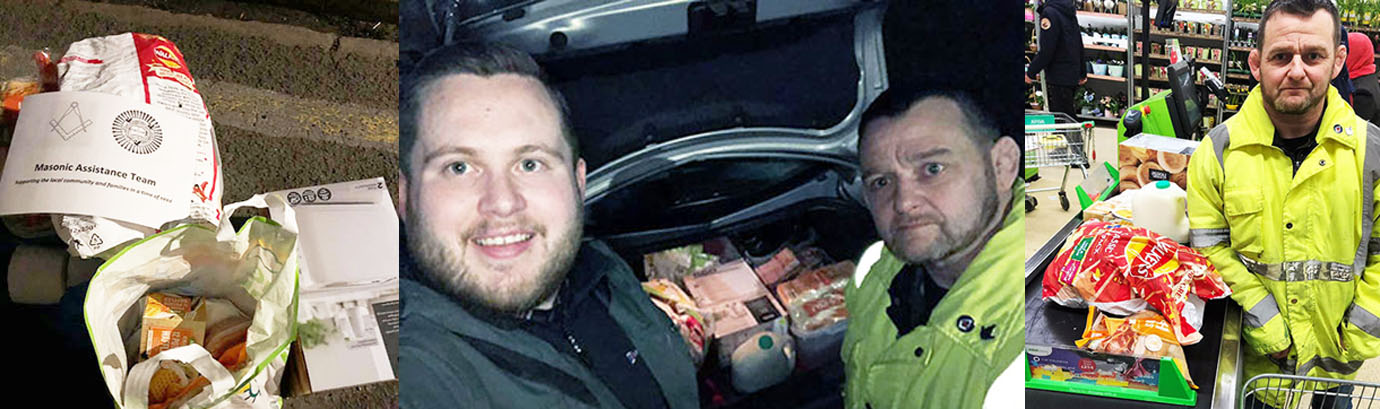 Pictured left: Recognisable Masonic delivery ID. Centre: Lian (left) and Adam. Right: Adam's shopping is completed.