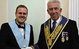 Adan Eeles (left) with Mark Matthews, representative of West Lancashire Freemasons to the Masonic Charitable Foundation.