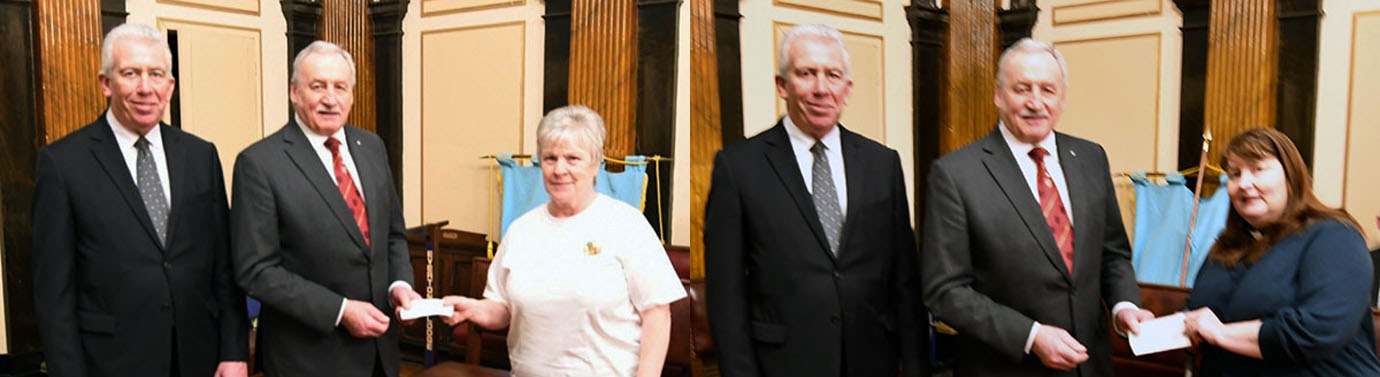 Pictured left from left to right, are: Mark Matthews and Sam Robinson presenting a cheque to Lynne Higgins of The Community Pantry. Pictured right from left to right, are: Mark Matthews, Sam Robinson and Rev Leatherbarrow of St Cuthbert's Church, Croxteth.