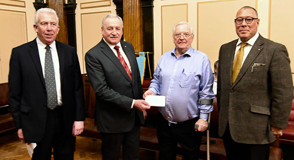 Pictured from left to right, are: Mark Matthews, Sam Robinson, David Sayce of Liverpool Masonic Hall and Jorge Perez.