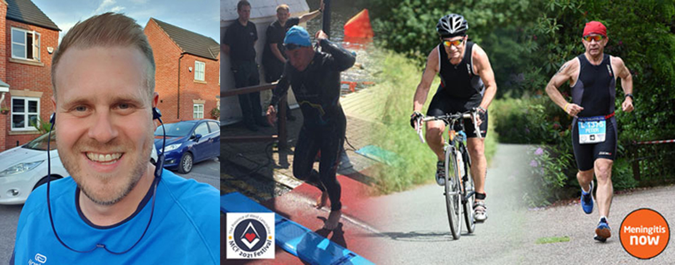 Pictured left: Adam Eeles, who will represent West Lancashire Freemasons in the London marathon. Pictured right: Swim, cycle and run – triathlon man.