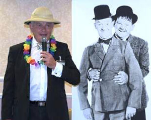 Ian addressing the Sons of the Desert at Bryn Masonic Hall.