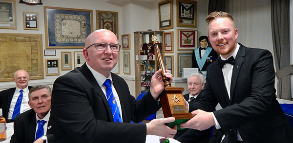 WM of Blackpool Lodge of Fellowship Paul Holt (right) presents the crowd jewel to the WM of Blackpool Lodge of Integrity Colin Rodgers.
