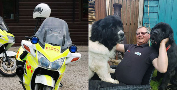 Pictured left: A blood bike. Pictured right: Carl and his Newfoundlanders.