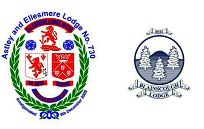 Astley and Ellesmere Lodge and Blainscough Lodge logos.