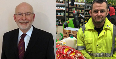 Pictured left: John James. Pictured right: Adam collects shopping.