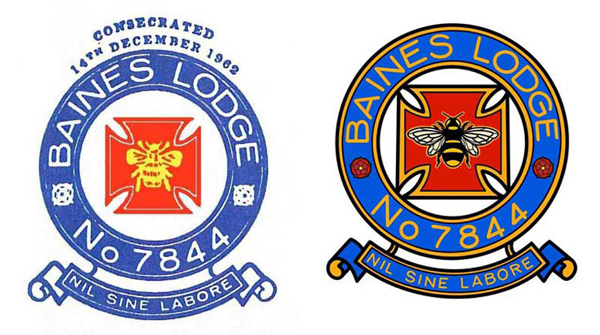 Pictured left: The original lodge crest. Pictured right: The new lodge crest.
