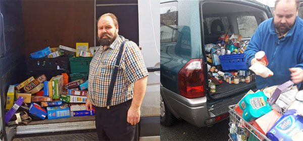 Pictured left: Ezra with the van loaded with food. Pictured right: Ezra hard at work loading more supplies for the foodbanks and the isolated.
