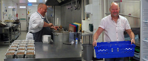 Pictured left: Lee Williams preparing the meals. Pictured right: John Cross supporting the group initiative.