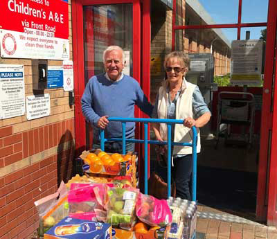 Terry and Anne Worthington delivering supplies to Ormskirk Hospital.