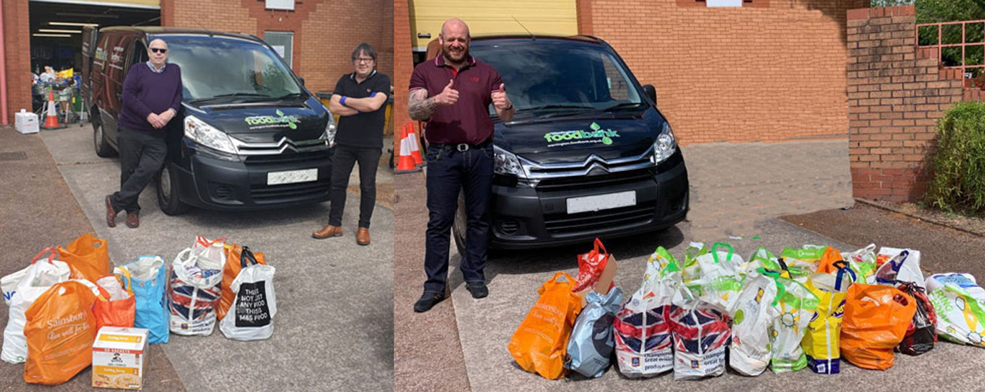 Pictured left: Rob Booth (left) and Glen at the foodbank. Pictured right: Neil Thomas welcoming the additional food at the foodbank.