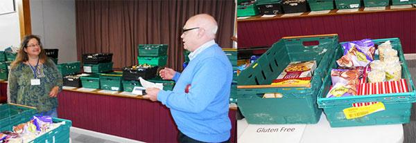 Pictured left: Nicola Hawkes receiving cheques from Robert Jones. Pictured right: A typical food donation.