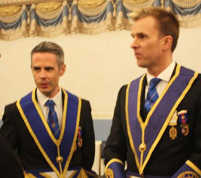 The retiring Provincial Grand Wardens. David Edwards (left) and Paul Storrar.