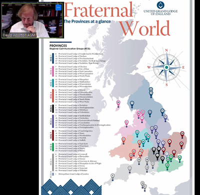 With the aid of a shared screen graphic, Sir David explains the Provincial Communication Groups.