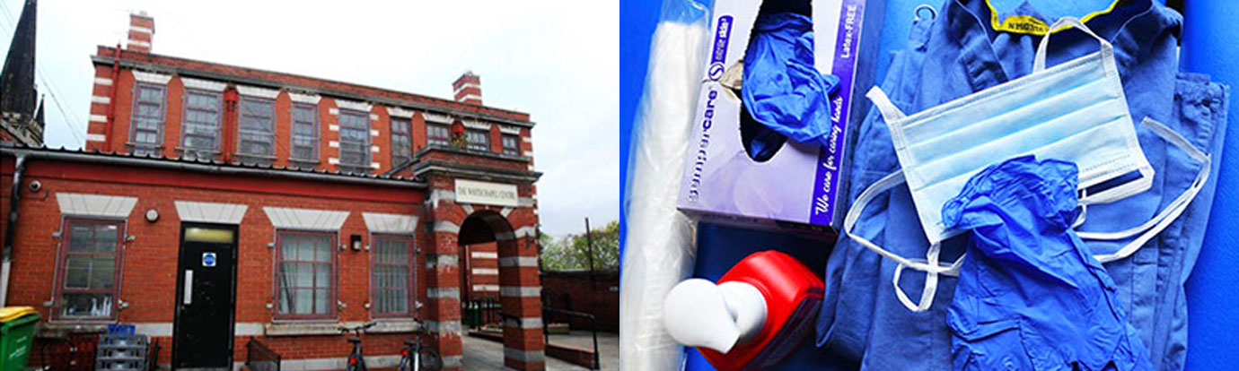 Pictured left: The Whitechapel Centre building. Pictured right: The type of PPE provided by MAT.