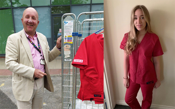 Pictured left: Professor Paul May from Walton Neurosurgical Centre in Liverpool takes delivery. Pictured right: Olivia Duka, graduate nurse from Whiston Hospital, in her new scrubs.