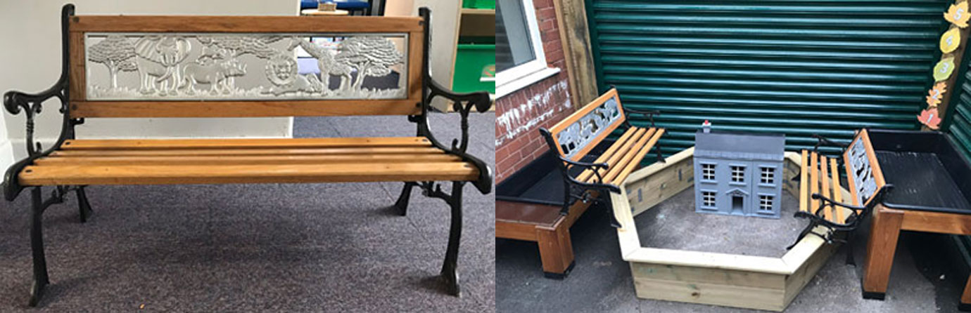 Pictured left: A refurbished school bench. Pictured right: Furniture and toys built by Adrian.