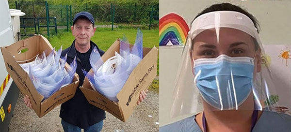 Pictured left: Delivery of visors to Wigan and Leigh Hospice. Pictured right: The finished product.