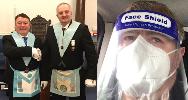 Pictured left: Paul (left) and the WM Julian Chambers. Pictured right: Paul in PPE.