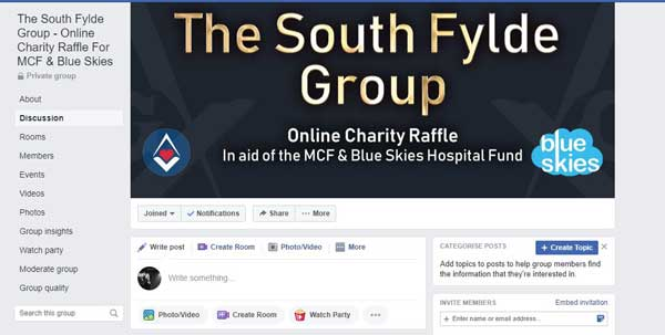 The Facebook page inviting members to take part in the last raffle.