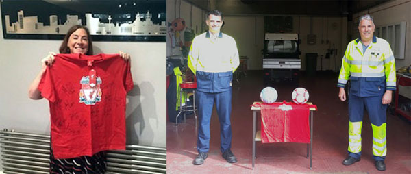 Pictured left: Liverpool legends T-shirt shown by winner Pat Milligan. Pictured right: Interox Site Manager Craig Barraclough (left) and Andy with the footballs.