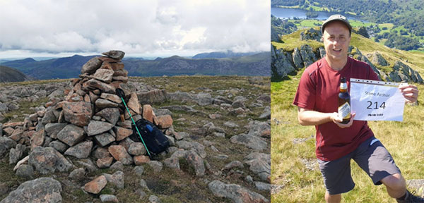 Pictured left: The summit of Stone Arthur. Pictured right: Paul's celebration photograph – a bottle of Wainwright's, the name of the fell, Stone Arthur, and the number of fells completed with the date.