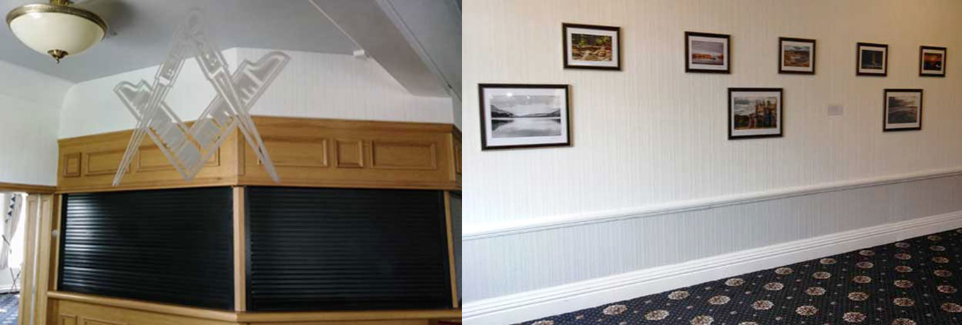 Pictured left: The bar reflected in the new Masonic themed mirror. Pictured right: The lounge area, freshly decorated, with a new carpet and photographs taken by Jon Boriss from Quadrant Lodge No. 8044 and Jon Hardman from Ansdell Lodge No 3607