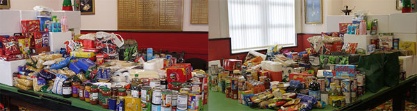Just some of the food bank donations that have flooded in at Blackpool Masonic Hall.