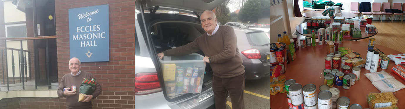 Pictured left: Eccles Group Vice Chairman Patrick Walsh outside Elm Bank with donations. Pictured centre: Donation collected and delivered by Patrick. Pictured right: First drop on the first Saturday of collection at Elm Bank.
