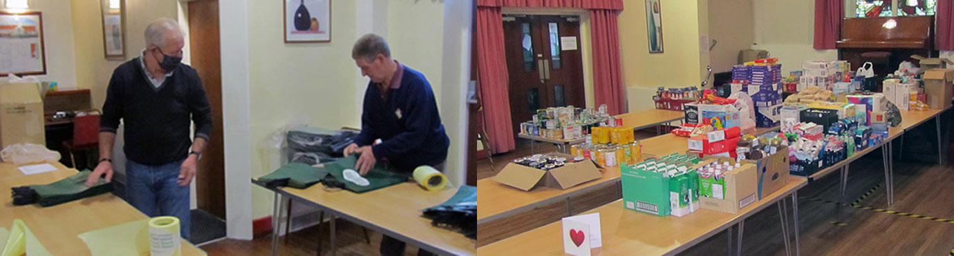 Pictured left: Some of the group chairman's helpers are busy packing. Pictured right: An encouraging start - the first Saturday of the appeal.
