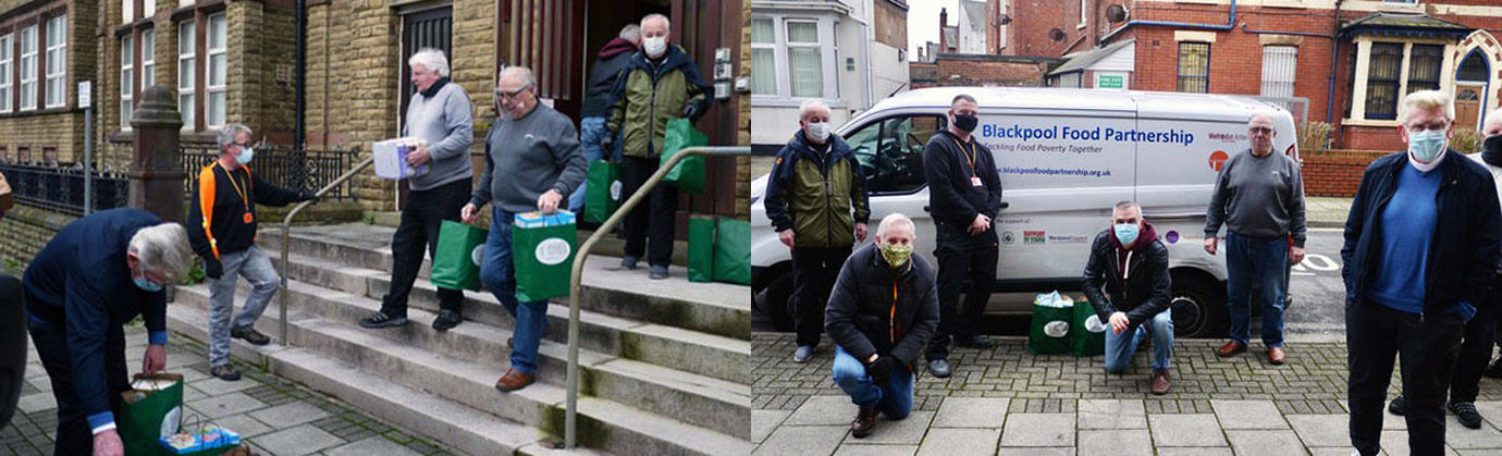 Pictured left: Brethren and volunteers loading the vans. Pictured right: Blackpool Freemasons and Food Partnership volunteers.