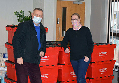 Peter Lockett and Helen (Storehouse Foodbank Manager).