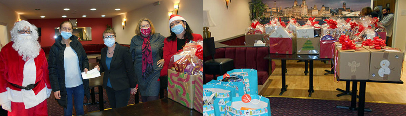 Pictured left: Pictured from left to right, are: Jack Parker, Carmel Morgan, Maria Eagle, Tricia O'Brien and Lynnie Hinnigan. Pictured right: Boxes and bags for distribution.