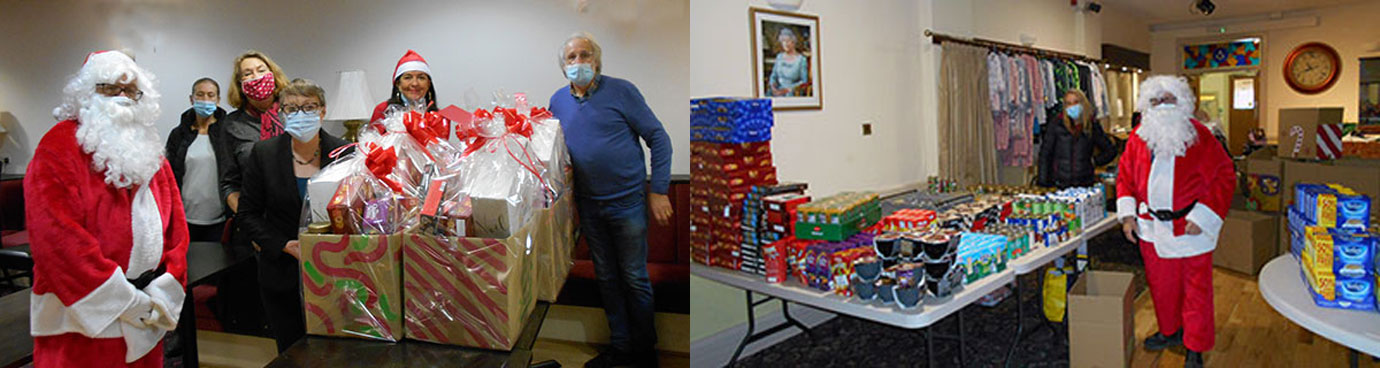 Pictured left: Pictured from left to right, are; Jack Parker, Carmel Morgan, Tricia O'Brien, Maria Eagle, Lynnie Hinnigan and Mal Yates. Pictured right: Provisions and clothes for Xmas boxes.