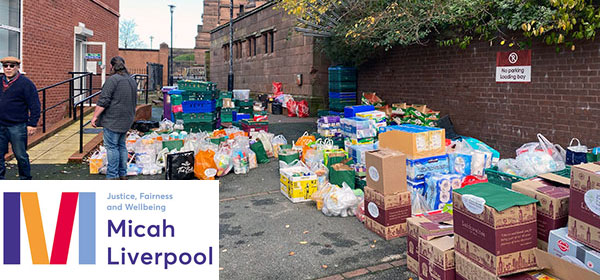 Donated foodstuffs with the Micah Liverpool logo inset