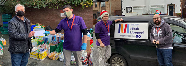 Pictured left: Dave Johnson with the food parcels on delivery to MICAH. Pictured right: MICAH representatives with the van prior to delivering.